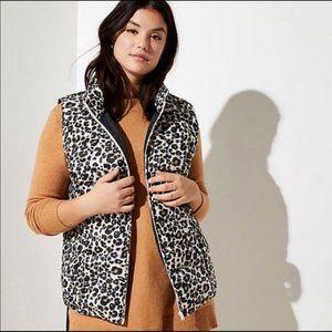 LOFT Plus Leopard Print Puffer Vest NWOT